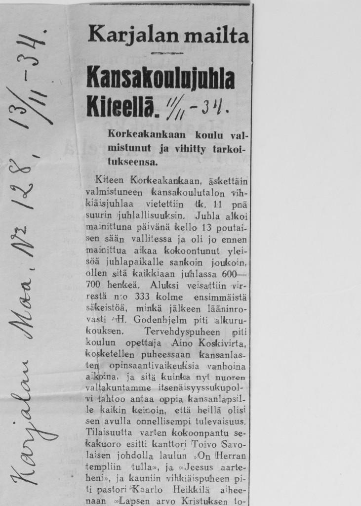 Korkeakankaan koulun vihkiäisjula 11.11.1934 osa 1